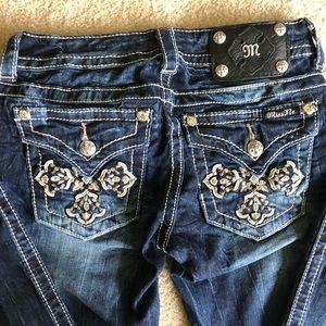 Miss Me dark wash bootcut jeans w/ raw hem size 26